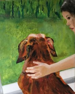Gravhund og pige er et akrylmaleri på lærrred