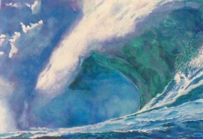 Titlen på maleriet er Bølgen rejser sig og er malet med akryl på lærred