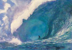Titlen er Den ultimative bølge og er malet med akryl på lærred