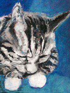 Nalle er navnet og titlen på tegning af en grå og sortstribet kat, der er tegnet med pastelkridt på papir