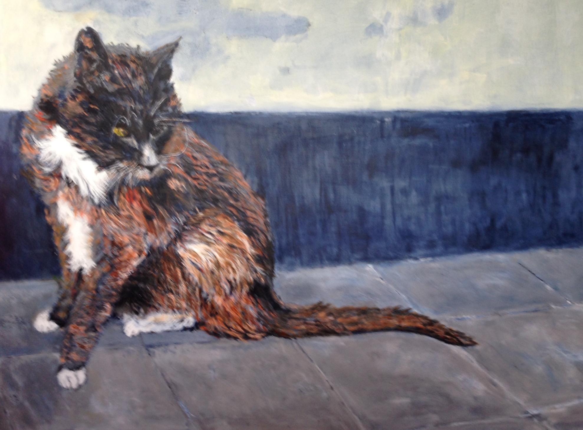 Katten Gustav 19 år er et maleri der er en meter højt og 1,5 meter bredt. Det er akryl på lærred