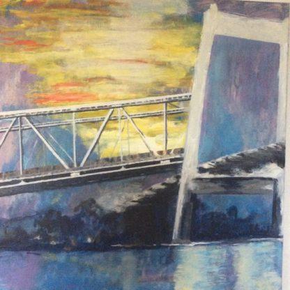 Broerne rækker til Jylland fra Fyn er titlen på akrylmaleri til melodi