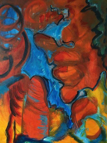 Ansigter i landskabet 2 er et abstrakt akrylmaleri på lærred