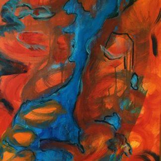Ansigter i landskabet 1 er et abstrakt akrylmaleri på lærred