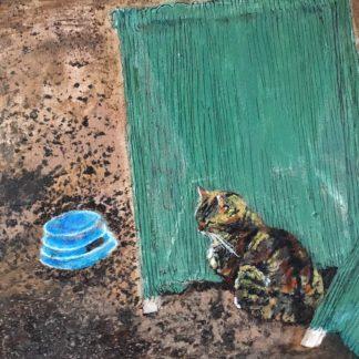Rum for sult - ingen kattemad er et maleri med akryl på lærred