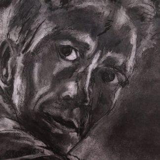 Alvorlig mand er en portrættegning med pastelfarver på papir