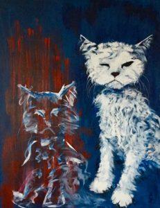 Sure katte er titlen på akrylmaleri på lærred.