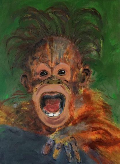 Skriget er titlen på maleri af abe
