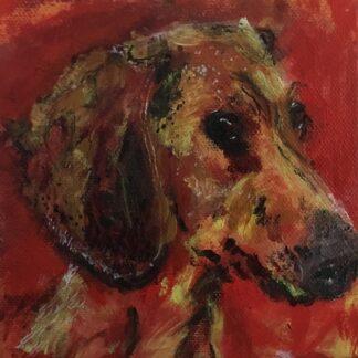 Maleri af rød gravhund