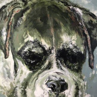 Grøn Barnham - maleri af hund 120 H x 80 B